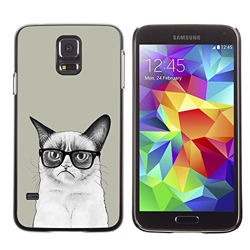 amsung Galaxy S5 siamese cat drawing angry glasses art hipster / Slim Black Plastic Case Cover Shell Armor
