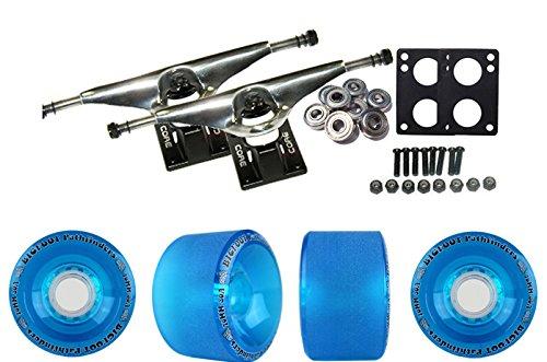 "Longboard Skateboard Trucks Combo Set 70mm Bigfoot Pathfinder Wheels with Silver Trucks, Bearings, and Hardware Package (70mm Blue Wheels, 7.0 (9.63"") Silver Trucks)"