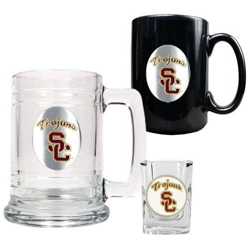 NCAA USC Trojans 15-Ounce Tankard, 15-Ounce Ceramic Mug & 2-Ounce Shot Glass Set - Primary Logo