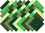 Green Blenders Collection 40 Precut 5-inch Quilting Fabric Squares Charm Pack Larger Image