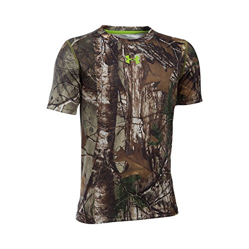 Under Armour Boys' Tech Scent Control T-Shirt, Realtree Ap-Xtra/Velocity, Youth Large