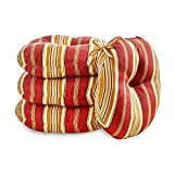 Greendale Home Fashions 18 in. Round Outdoor Bistro Chair Cushion (set of 4), Roma Stripe