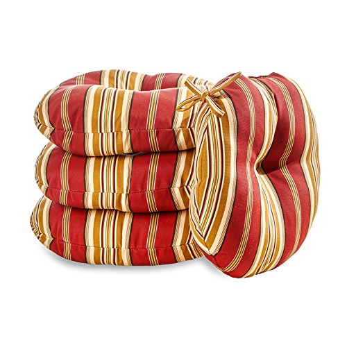 Greendale Home Fashions 18 in. Round Outdoor Bistro Chair Cushion (set of 4), Roma Stripe by Greendale Home Fashions