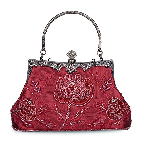 Roses Style Vintage Bag Evening Purse Clutch Wedding Sequined Sequin Clutch Women's Beaded Party Baglamor Red nqYx5EUwA