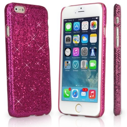 Apple iPhone 6 / 6s Glitter Variety Solid Sequin Bling Diamond Luxury Sparkly Cute Girly Kawaii Pretty Shine Twinkle Sparkle Thin Hard Protective Back Cover Case By Tech Express (Hot Pink) (Iphone 4 Wall Charger Sparkly)