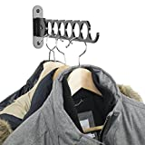 Wallniture Costa Wardrobe Organizer Wall Mounted Clothes Bar - Folding Hanger Rack Holder Organizer - Steel Black 14.5 Inch (Black)
