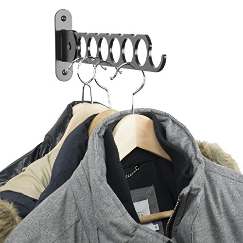 Wallniture Costa Wardrobe Organizer Wall Mounted Clothes Bar - Hanger Holder Organizer - Steel Black 14.5 Inch (Hang Double Closet)