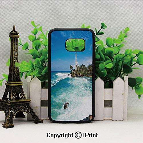 Tropical Island Lighthouse with Palm Trees Rocks Wavy Seaside Beach Ocean Samsung Galaxy S7 Case Hard Back Shock Drop Proof Impact Resist Protective Case for Samsung S7 Blue White Green