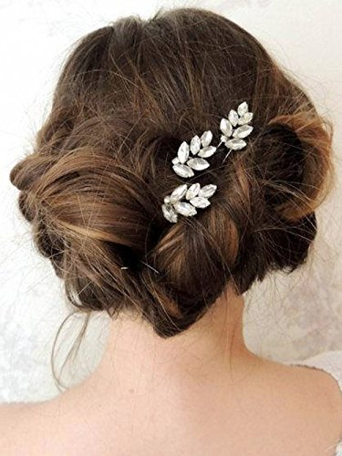Yean Wedding Bridal Hair Pins Silver Leaf Rhinestones Hair Pins for Brides Bridesmaids (Set of 3)