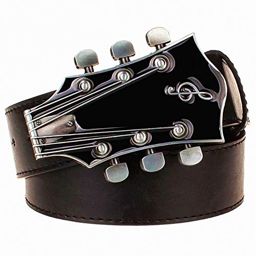DAHDXD Fashion Men's Belt Metal Buckle Belts Retro Guitar  Street Dance Accessories Performance Apparel Hip Hop  Waistband Novel Belt