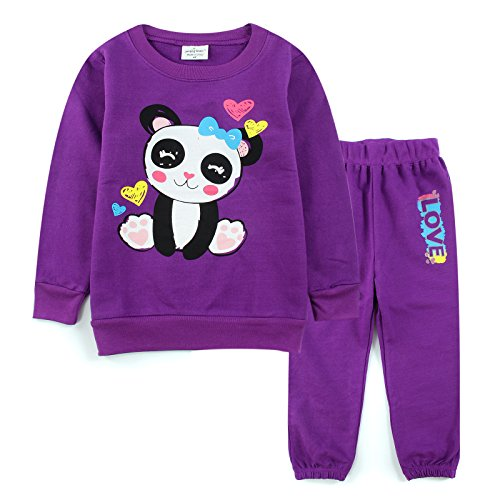 [Neighbor Girl Kids Baby Panda Heart Shirt 2pcs Set Purple 100% Cotton (2-7 Years)] (Witch Coustumes)