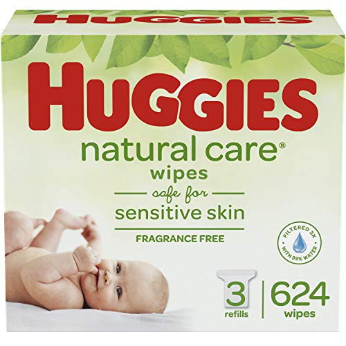 HUGGIES Natural Care Unscented Baby Wipes, Sensitive, 3 Refill Packs (624 Total Wipes) ()