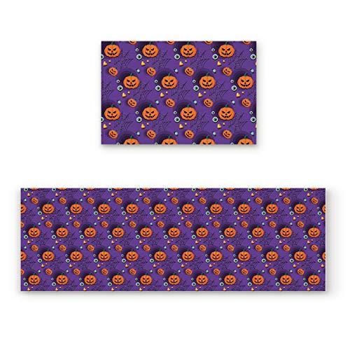 Lightrain Halloween Evil Pumpkin and Eyeball 2 Piece Doormat Hallway Kitchen Runner Rug Carpet (Non-Slip) Rubber Backing Area Rug Set Floor -