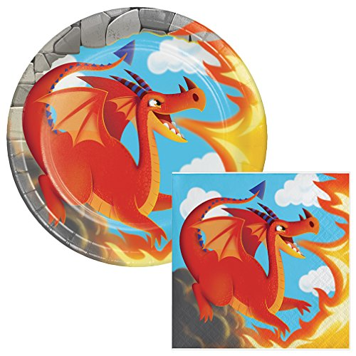 Slaying Dragon Dessert Plates & Napkins Party Kit for 8