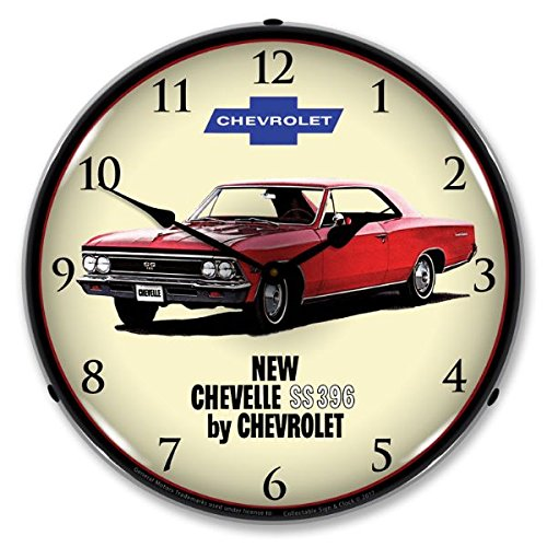 (1966 Chevelle SS 396 Lighted Wall Clock 14x14 Inches 110v GM1702730)