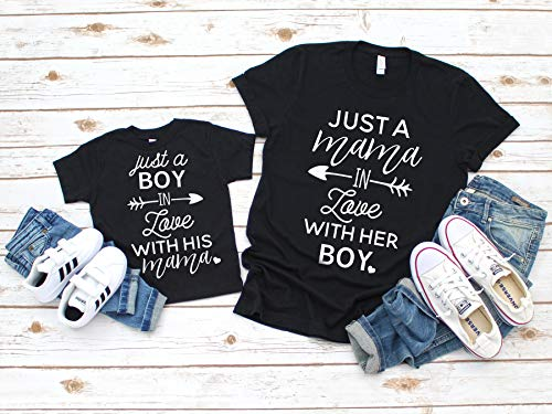 Mommy and Me Shirt Set Mother and Son Matching Shirts Just a Boy in Love with his Mama Shirt Mom Son Matching Shirt Set (Mother And Son Matching Clothes)