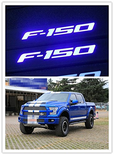 Highitem LED Light 4 Door Titanium Stainless Steel Scuff Plate Door Sill Entry Guard for Ford F150 F-150 2009 2010 2011 2012 2013 2014 2015 2016 2017 Black