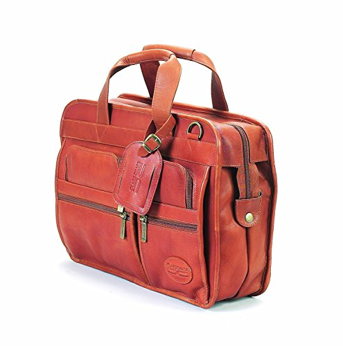 Claire Chase Slimline Executive Leather Briefcase, Computer Bag in Saddle - Executive Brief Bag