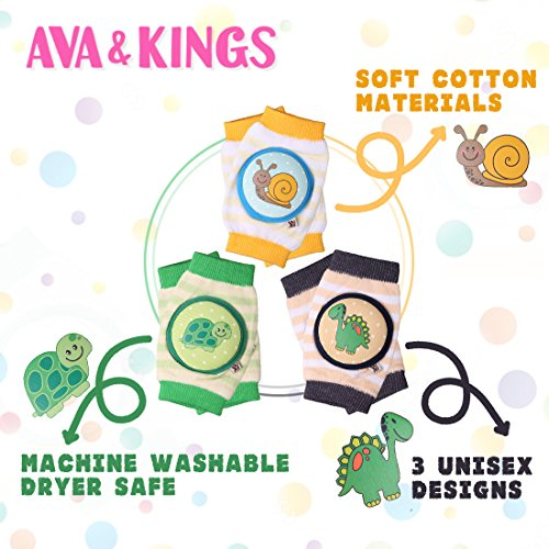 Ava & Kings Baby Knee Pads for Crawling - Babies Stuffs Gift Ideas for Infants - Protect Elbows and Legs w/Breathable Warmer Cotton and Anti-Slip Elastic - Unisex For Boys & Girls - Set of 3 by Ava & Kings (Image #2)