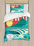 Ambesonne Hawaiian Duvet Cover Set Twin Size, Hawaii Sandy Coastline Sunny Day Surfboard Tropics Famous Honeymoon Destination, Decorative 2 Piece Bedding Set with 1 Pillow Sham, Sand Teal