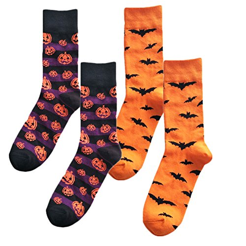 Solvang 2Pair Novelty Pumpkins Bats Fun Crew Socks for Men (Pumpkin Socks)