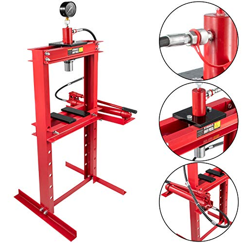 """Bestauto Hydraulic Press 12 Ton Hydraulic Shop Floor Press with Heavy Duty Steel Plates and H Frame Working Distance 34""""(87cm) Top Mount for Gears and Bearings"""