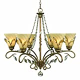 Golden Lighting 54006RG Chandelier With Swirled Mist Glass Shades, 31.5″ x 31.5″ x 30.5″, Rose Gold Finish Review