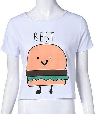 QHGstore Camiseta de impresión divertida Camisetas de algodón de las mejores amigas camisetas Camisetas de manga corta camiseta NO.2 M: Amazon.es: Ropa y accesorios