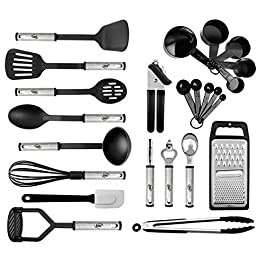 Kitchen Utensil Set 24 Nylon and Stainless Steel Utensil Set, Non-Stick and Heat Resistant Cooking Utensils Set, Best…