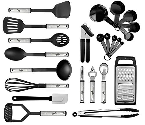 Kitchen Utensil set - 24 Nylon Stainless Steel Cooking Supplies - Non-Stick and Heat Resistant Cookware set - New Chef's Kitchen Gadget Tools Collection - Best for Pots and Pans - Great Holiday Gift (Best New Cooking Tools)