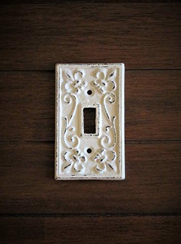 - Single Light Switch Cover/Light Plate Cover/Cast Iron Plate/Fleur de Lis Design/Antique White or Pick Your Color