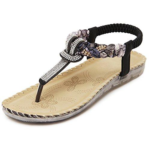 微妙ファッションフローXIAOLIN エスニックスタイルのラインストーン平底サンダル女性夏休みビーチシューズローマシンプルな韓国語版(オプションのサイズ) (色 : ブラック, サイズ さいず : EU40/UK7/CN41)