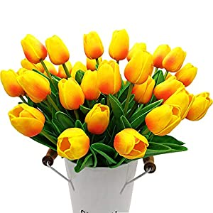 Grunyia 20PCS Artificial Tulips Flowers 18