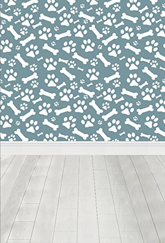 LFEEY 3x5ft Dog Paws Bones Pattern Photo Backdrop For Kids Baby Birthday Party White Wood Floor