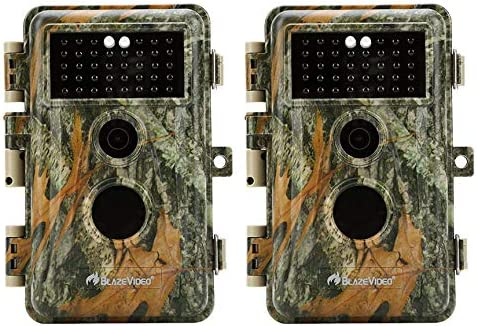 Upgraded BlazeVideo 2-Pack Game Trail Deer Cameras 16MP 1920x1080P Video with 65ft Night Vision PIR Motion Activated Waterproof IP66 No Glow Infrared Camo Wildlife Hunting Cam 0.6S Trigger 2.4 LCD