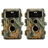 """[Upgraded] BlazeVideo 2-Pack Game Trail Deer Cameras 16MP 1080P No Glow & No Flash 38 Invisible Infrared IR LED Wildlife Hunting Video Cam Night Vision 65ft PIR Motion Activated Sensor IP66 Waterproof 0.6S Trigger Speed, 2.4"""" LCD, Password Protected and Stand-by Time Up to 6 Months"""