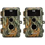 [Upgraded]BlazeVideo 2-Pack Game Trail Deer Cameras 16MP 1920x1080P Video No Glow Infrared 2.4 LCD Camo Wildlife Hunting Cam 65ft Night Vision PIR Motion Activated Sensor IP66 Waterproof 0.6S Trigger