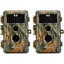 """[Upgraded]BlazeVideo 2-Pack Game Trail Deer Cameras 16MP 1920x1080P Video No Glow Infrared 2.4"""" LCD Camo Wildlife Hunting Cam 65ft Night Vision PIR Motion Activated Sensor IP66 Waterproof 0.6S Trigger"""