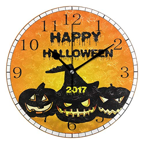 Home Decor Clock B Scale Halloween Illustration Wallpaper Scary Round Style,Silent Non -Ticking Wall Clock, Battery Operated Art Decorative for Kitchen,Living Room,Kids Room and Coffee Decor (10 Inch)]()
