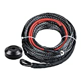 """Black Synthetic Winch Line Cable Rope Heat Guard + Rubber Stopper Kit for Jeep SUV ATV UTV KFI (22"""" Heat Guard 50"""" x 3/16"""")"""