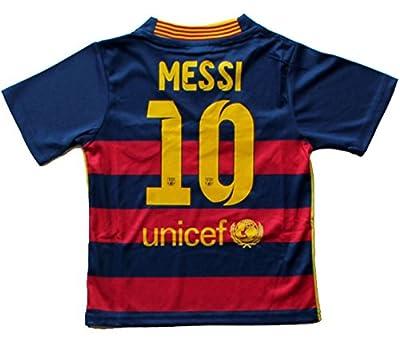 2015/2016 Fc Barcelona Home Leo Messi 10 Football Soccer Kids Jersey
