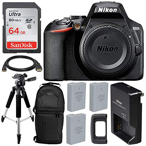 Nikon D3500 DSLR Camera (Body Only) & Essential Accessory Bundle – Includes: SanDisk Ultra 64GB SDXC Memory Card, 2X Extended Life Replacement Battery & More (Seller Supplied Warranty)