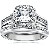 Sterling Silver Cubic Zirconia Cushion-Cut Halo Channel-Set Wedding Ring Set (1.47 cttw), Size 7