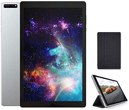 2021 New 10 inch Tablet 5G+2.4G WiFi with case, Octa-Core Tablet, Android 9.0 Pie, 3GB RAM, 32GB ROM, IPS Full HD1920x1200 Display, 5G WiFi, Frosted Metal Body (Silver)
