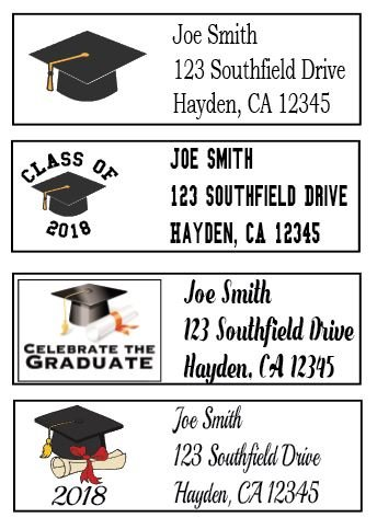 Class of 2018 Graduation Address Labels - 30 Count - Personalized (Seal Address Return)