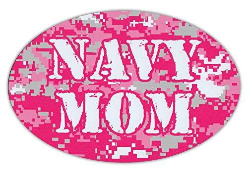 Oval Shaped Car/Refrigerator Magnet - Navy Mom (Hot Pink Design) - Support Our Military! (Mom Refrigerator Magnet)