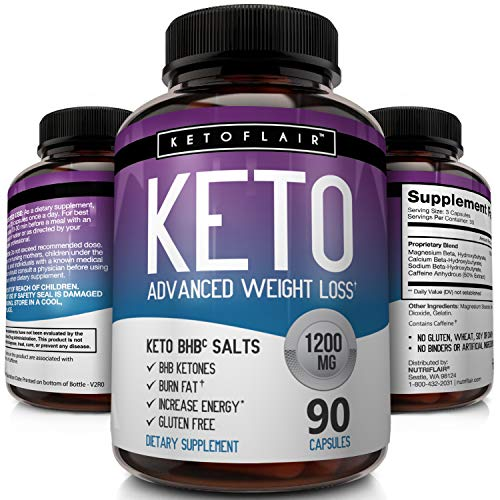 - Keto Diet Pills - 1200MG Advanced Weight Loss Ketosis Supplement - All Natural BHB Salts (beta hydroxybutyrate) Ketogenic Fat Burner Capsules - GMP-Sealed, Non-GMO Product - Ideal Weight Loss Support