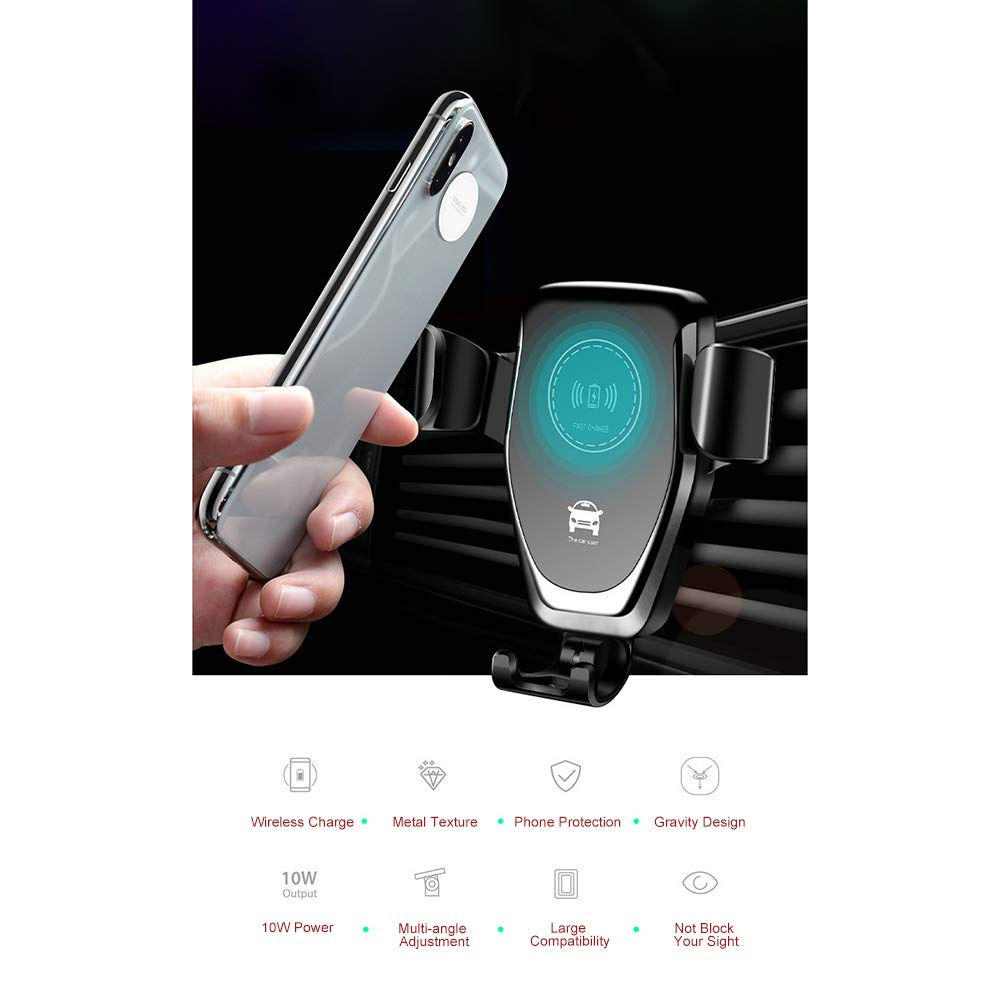 Docooler Schnelle QI Wireless Car Charger Gravity Halter Kompatibel mit iPhone Samsung Schnellladeger/ät Lade Mount