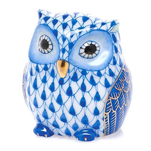 Herend Owlet Porcelain Figurine Sapphire Fishnet