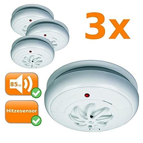 Juego de 3 Detector de calor, 85 Db, responde en A alta temperatura, 24h Protección, montaje inalámbrico: Amazon.es: Hogar